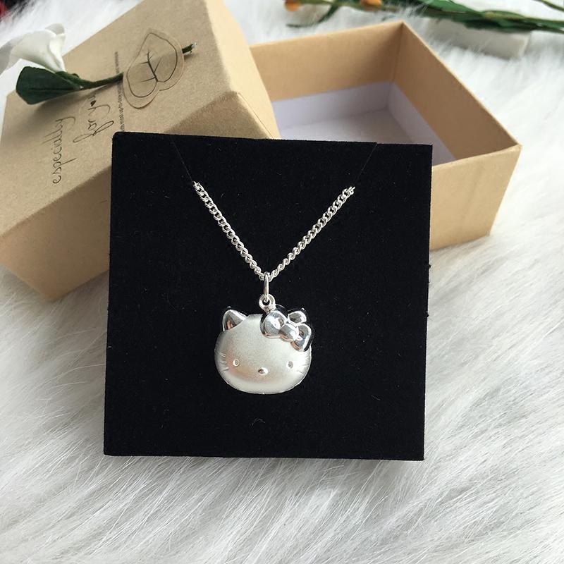 香港正生Kitty猫999纯银宝宝吊坠可爱女童款足银项链佩戴舒适礼物