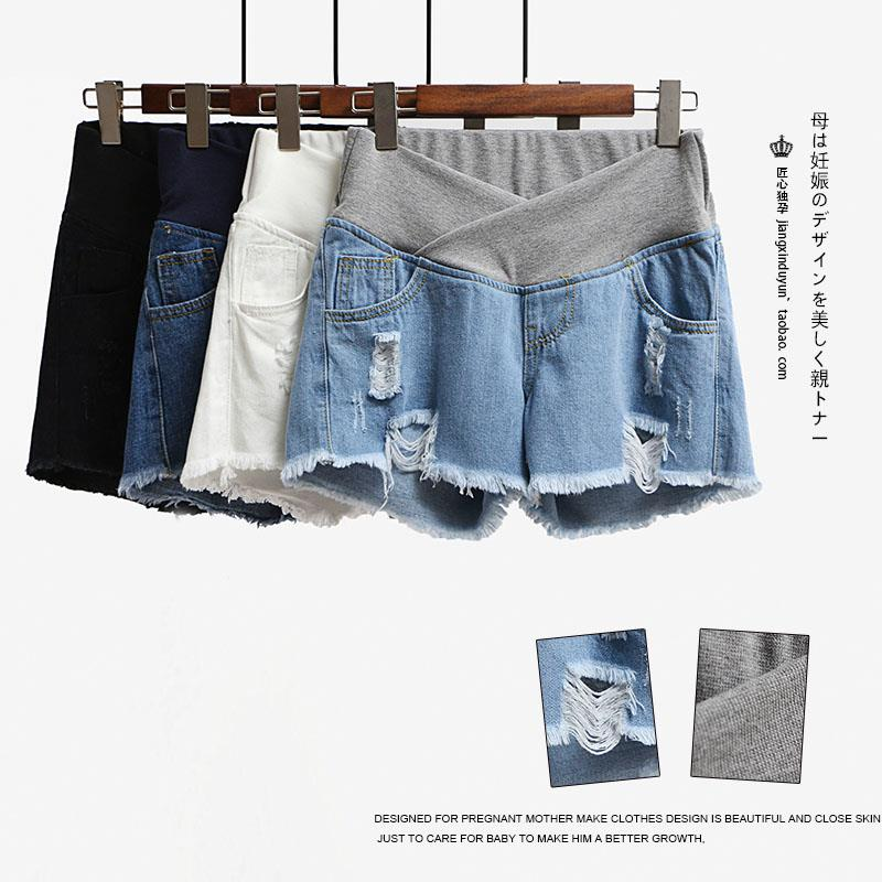 Pregnant womens Denim Shorts womens summer thin low waist pregnant womens spring and summer wear bottomed jeans with belly support
