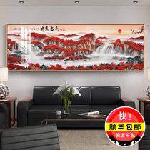 名家掛畫帶框客廳辦公室海林畫桂林山水甲天下國畫風水手繪字畫廊