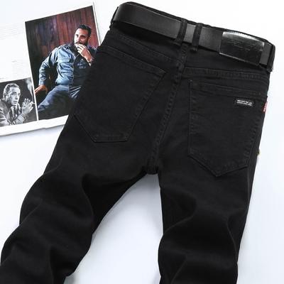 秋冬款男士纯黑色直筒牛仔裤男修身男式休闲弹力宽松加绒厚牛子裤