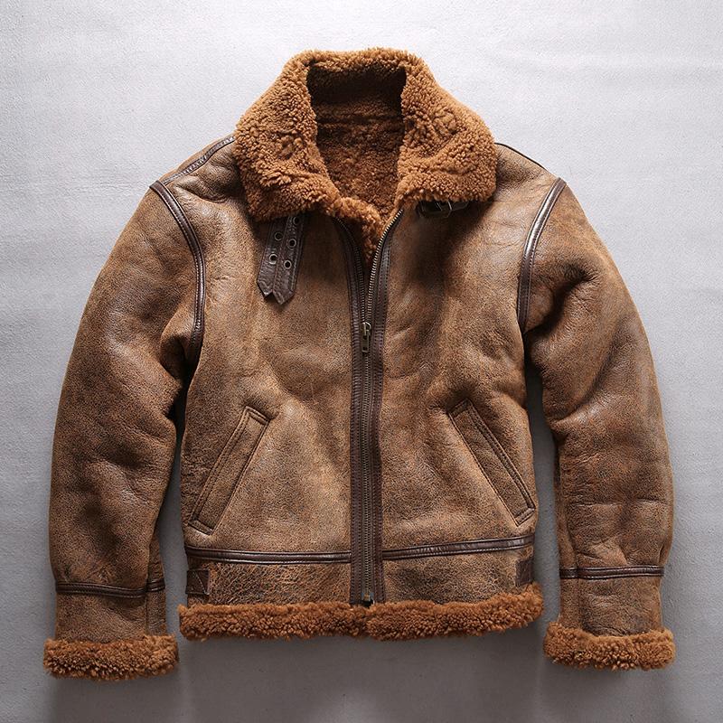 冬季新款皮毛一体 男 美国b3空军飞行服 机车夹克 真皮皮衣男外套