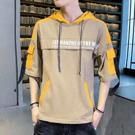 男士夏装连帽潮牌潮流短袖T恤中袖半袖修身男装七分袖青少年上衣