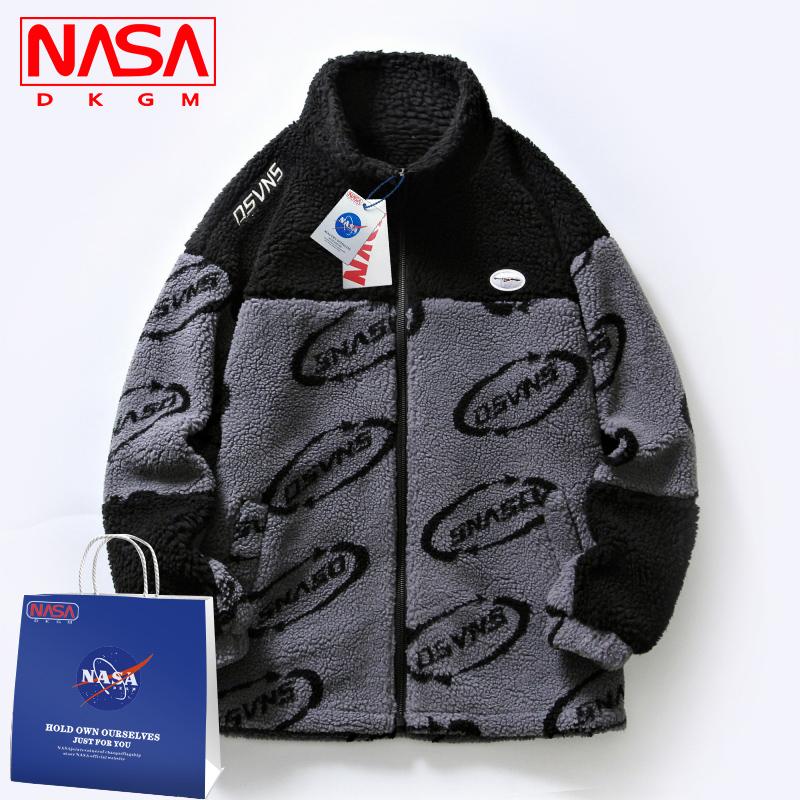 NASA联名潮牌摇粒绒棉服男外套冬季羊羔毛棉衣情侣羊羔绒棉袄外套