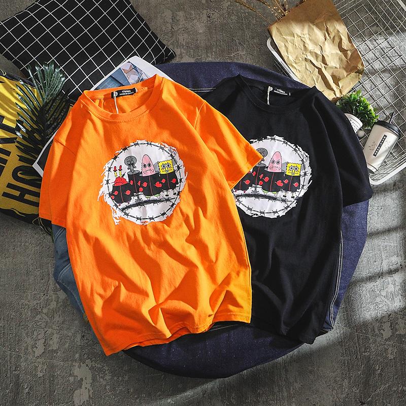 嘻哈欧美卡通休闲橙色潮牌短袖t恤 男潮流宽松青少年情侣上衣体恤(非品牌)