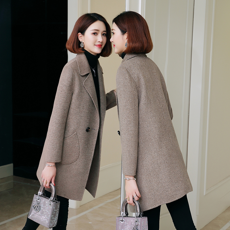 Double-sided woolen coat women's mid-length 2020 autumn and winter new style 100% wool coat slim zero cashmere coat