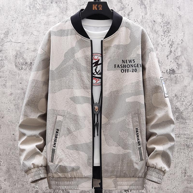男士外套2020年春秋季新款潮流韩版棒球上衣服男装迷彩男生薄夹克