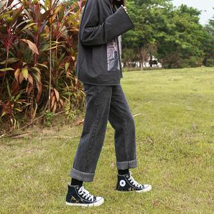 烟灰色直筒牛仔裤女高腰宽松显瘦秋冬季老爹阔腿黑色加绒加厚裤子品牌
