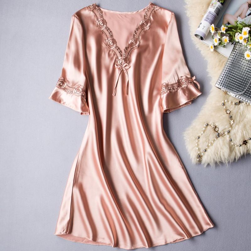 睡裙夏冰丝中裙薄款短袖蕾丝连衣裙