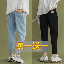 春季男生新款港风休闲浅色牛仔裤宽松直筒百搭修身小脚九分潮裤子