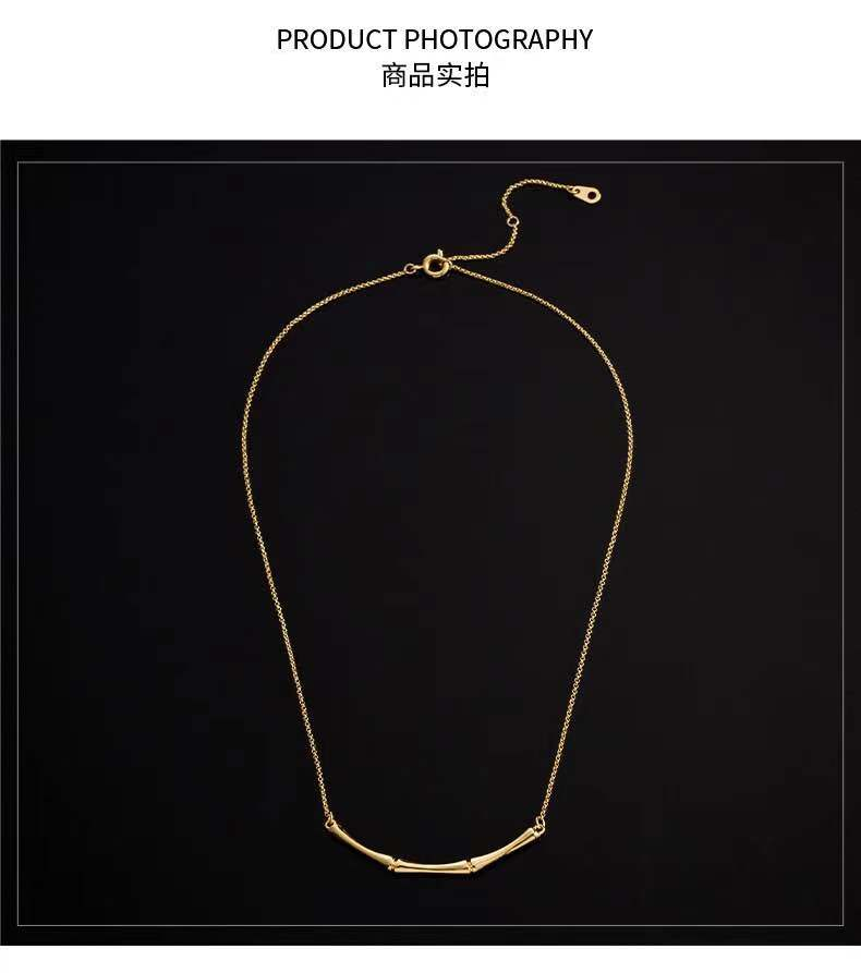 European and American light luxury and versatile, small minority designers simple ins style small bamboo K gold chain classic style necklace