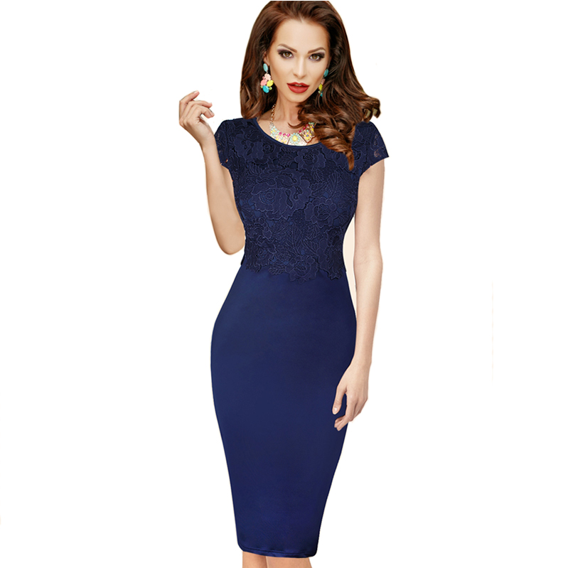 European and American dress retro casual short sleeve skirt middle lace dress backless womens pencil skirt