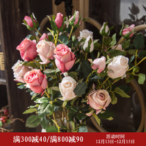 American high simulation flower rose bouquet living room home furnishings table fake flower decoration flower arrangement interior decoration Flower Art