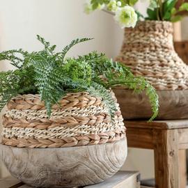 左岸麦田 木器之美-创意木头底座蒲草藤编花篮插花摆件家居饰品
