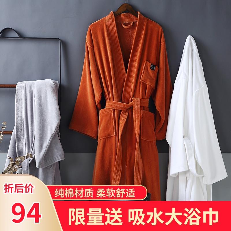 五星级酒店纯棉毛巾料浴袍吸水速干情侣男女浴衣成人全棉睡袍长款