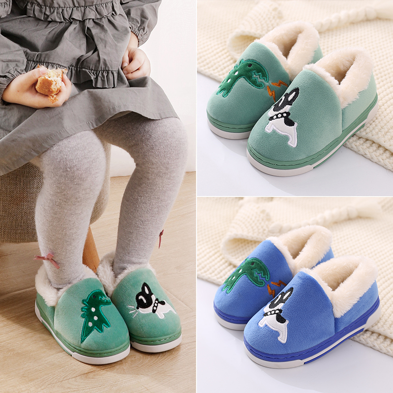 Children's cotton slippers winter package with boys female baby paternity plush slippers lovely warm home child cotton-padded shoes