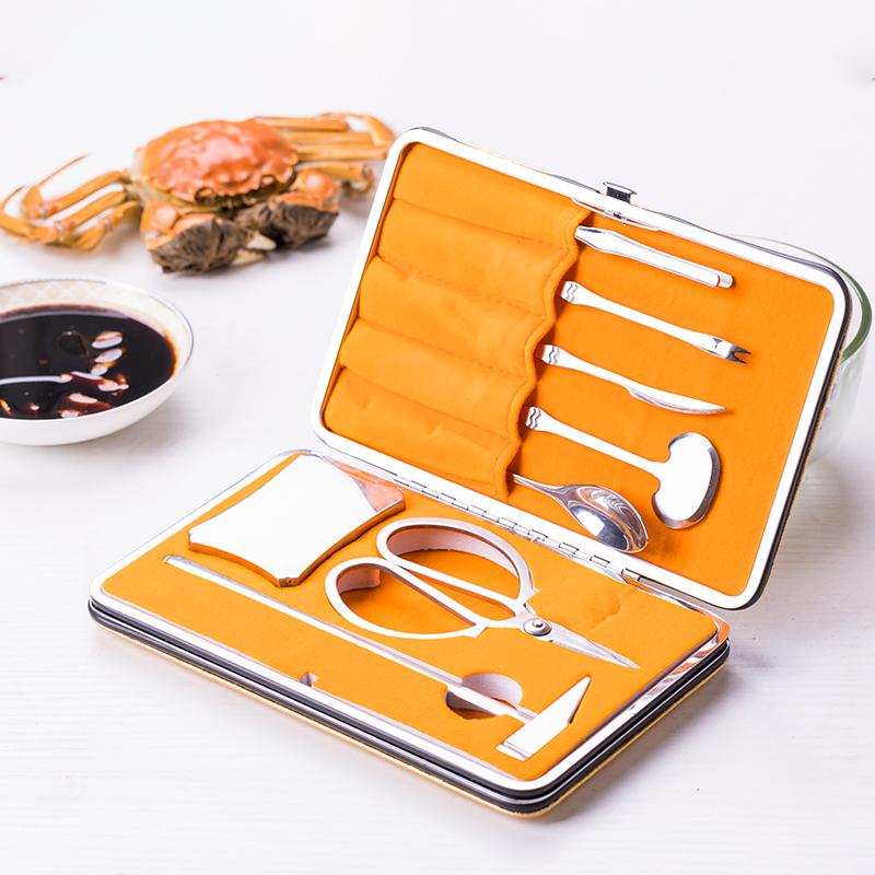 蟹八件304不锈钢 家用大闸蟹剥壳钳子蟹夹子针八件套装吃螃蟹工具