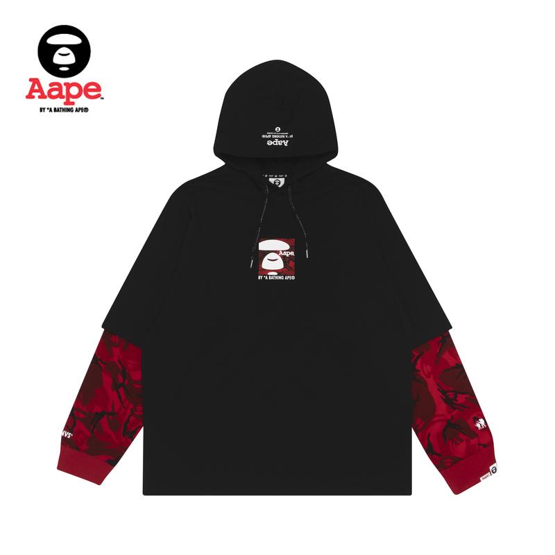Aape男装春夏方型猿颜字母印花迷彩拼接假两件连帽长袖T恤0496XXE