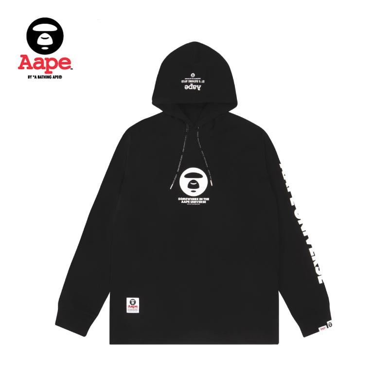 Aape男装秋冬猿颜圆章字母印花潮流连帽长袖T恤0393XXD