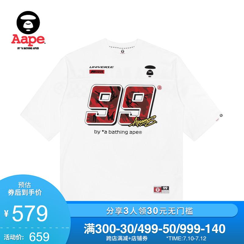 Aape男裝春夏猿顏字母迷彩數字賽車格紋印花短袖T恤0488XXE