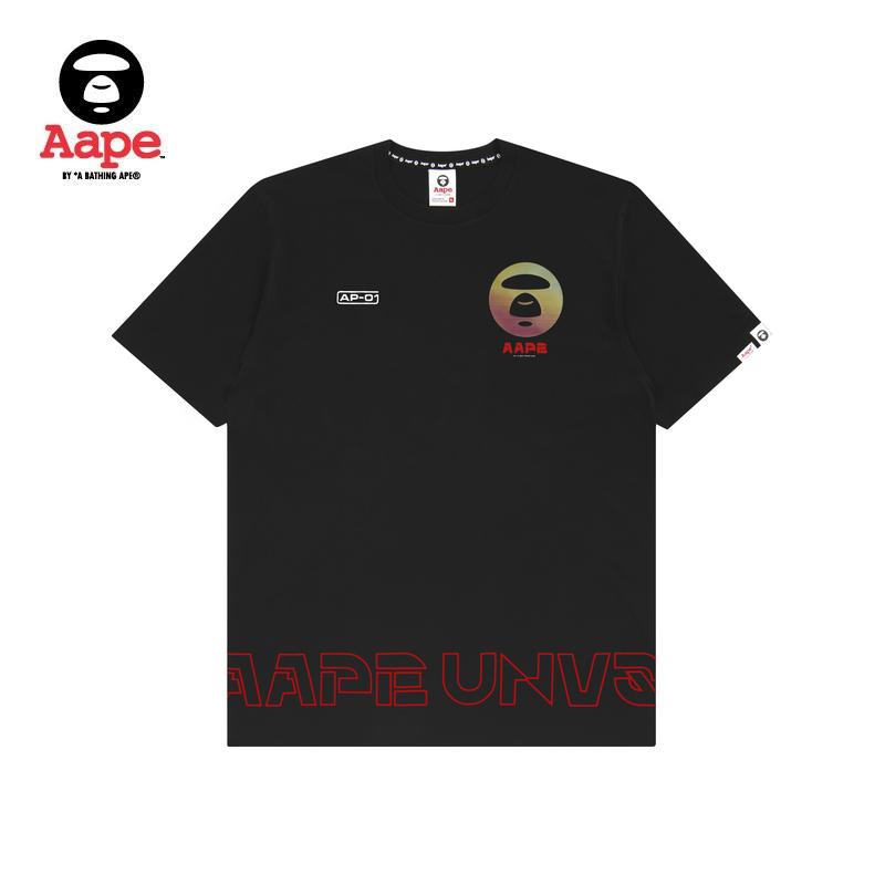 Aape男装春夏炫彩渐变猿颜图案字母印花潮流短袖T恤0267XXC