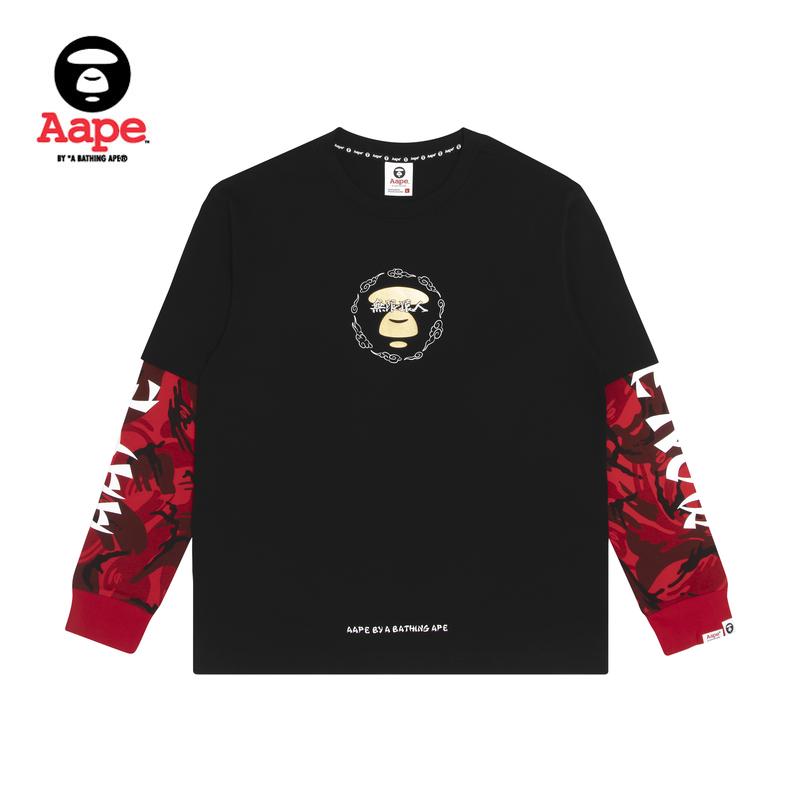 Aape男裝秋冬猿顏中文字印花迷彩假兩件長袖T恤0526XXD