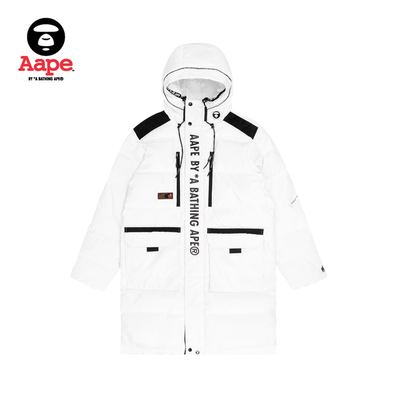 AAPE men's autumn and winter ape face badge letter printing hooded long down coat 7302xxd