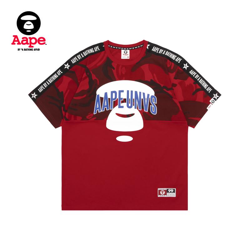 Aape男裝春夏猿顏字母印花迷彩拼接織帶潮流短袖T恤0278XXC