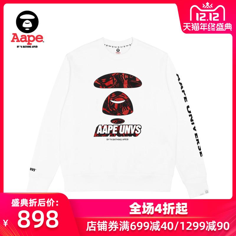 Aape男裝秋冬紅色線型迷彩猿顏字母印花休閑圓領套頭衛衣3580XXD