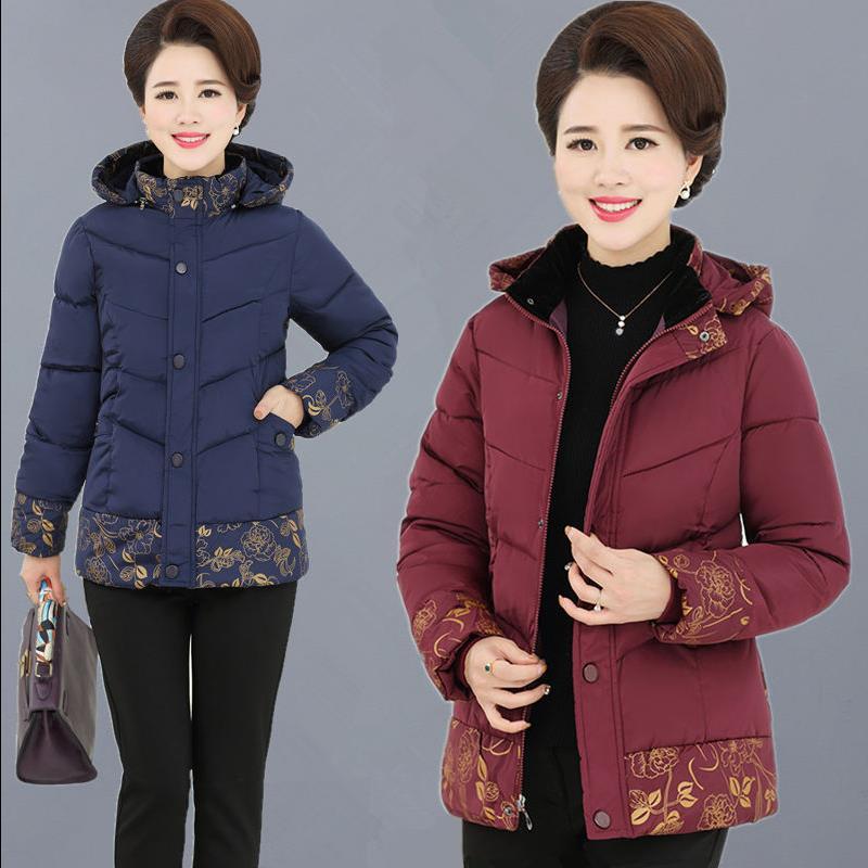 中老年女装冬装短款连帽棉衣40岁50妈妈装棉袄中年女外套羽绒棉服