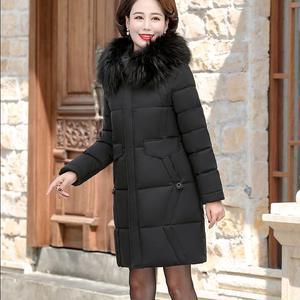 中年女装羽绒棉衣妈妈冬装加厚中长款棉袄中老年连帽保暖棉服外套