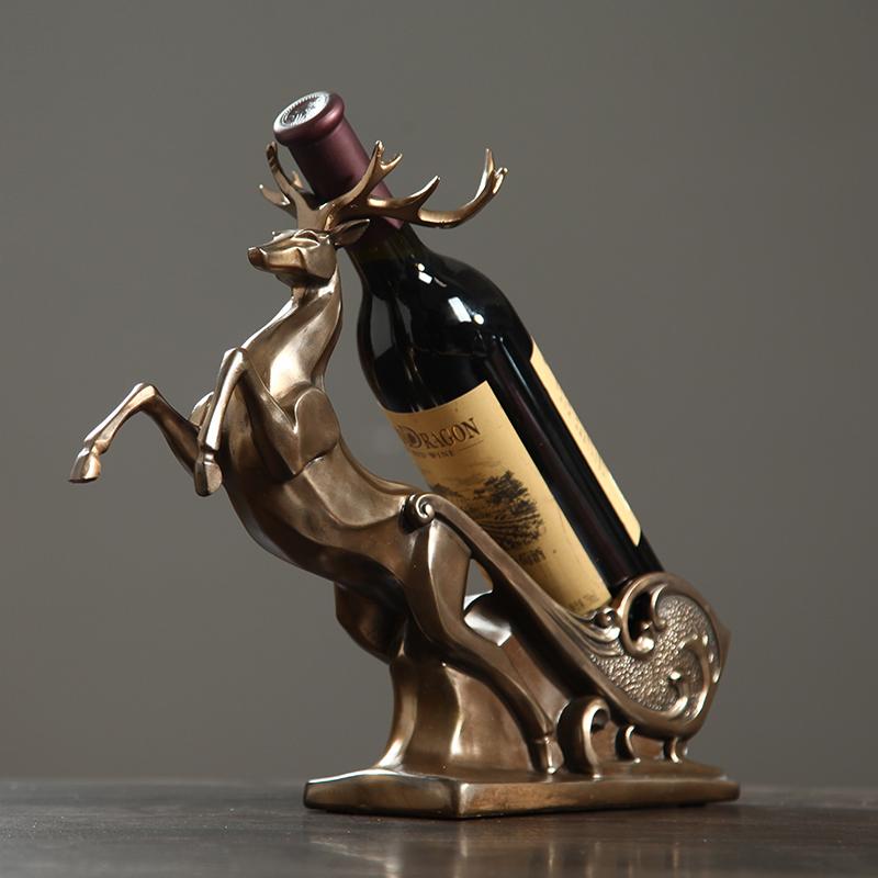 欧式红酒架摆件 小美式客厅家用简约现代招财鹿马拉车个性葡萄酒