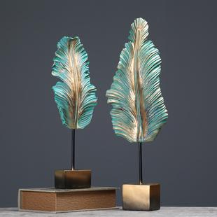 美式 电视柜招财树叶摆件创意玄关客厅橱柜家居装 饰品摆设工艺术品