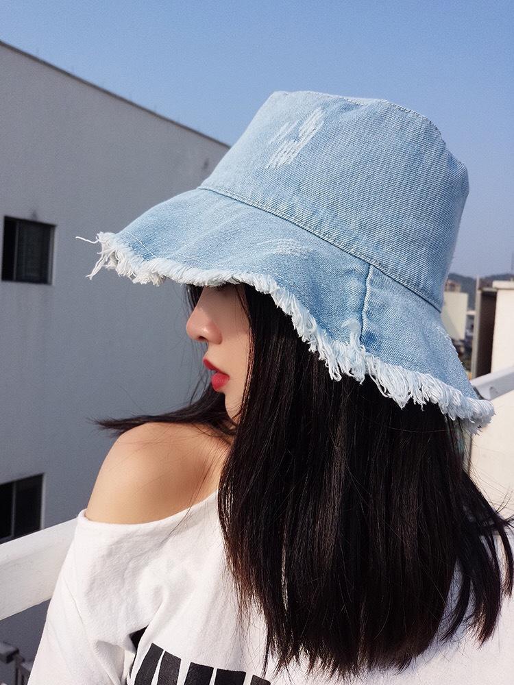 牛仔户外防晒渔夫帽太阳帽女夏韩版新款遮阳帽百搭韩国毛边盆帽