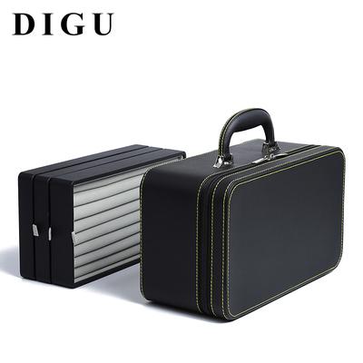Digu Jewelry Box Portable Portable Multi-ring Necklace Bracelet Storage Box Black Leather Multifunctional Jewelry Box