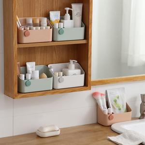 洗漱台镜柜化妆品收纳盒梳妆台桌面窄分格护肤品口红浴室置物架