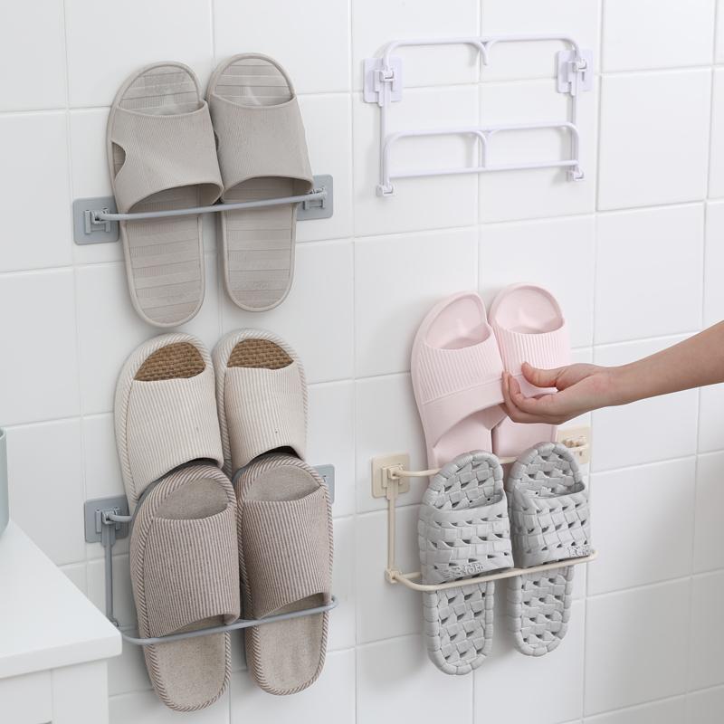 浴室拖鞋架墙壁挂式免打孔卫生间收纳置物架卫生间门后沥水鞋子架(用10.1元券)