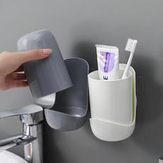 创意简约牙刷置物架吸壁挂式情侣卫生间牙膏牙筒收纳盒漱口杯套装