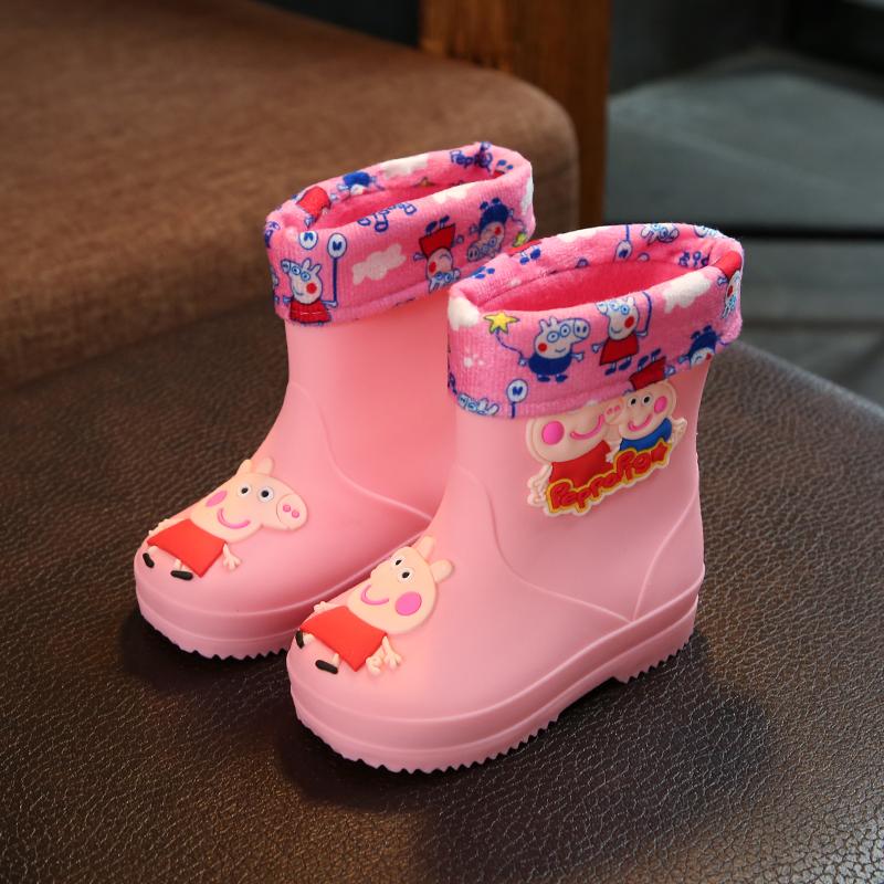 儿童雨鞋男童女童防滑水靴 四季通用 公主可爱幼儿园水鞋加绒保暖