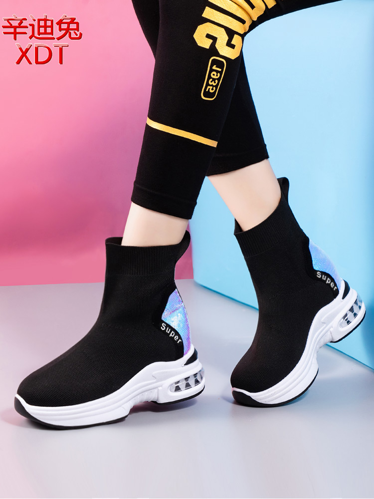 Socks and boots womens middle tube autumn 2020 new Korean flying woven breathable elastic fabric Sequin high top socks and sports shoes
