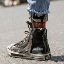 复古做旧高帮帆布鞋男韩版潮流拉链布鞋百搭情侣鞋时尚简约硫化鞋