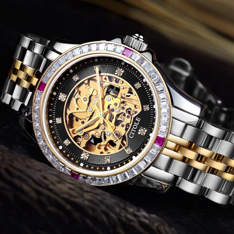 西腾正品男表自动机械全商务男士手表时尚钢镶钻镂空机芯大气腕表