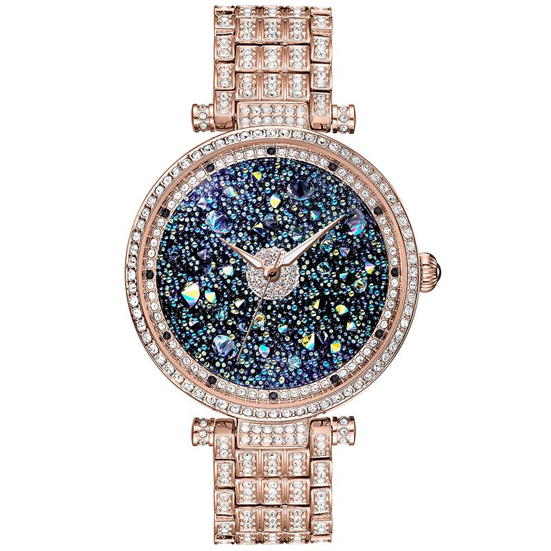 正品石英女表潮流时尚气质时装表镶钻手表蓝色梦幻星空水晶手表