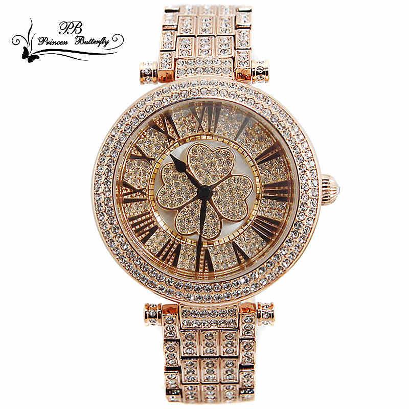 正品女表潮流时尚气质防水手表旋转四叶草水晶时装表镶钻装饰手表