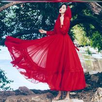 青海湖旅游备必女装大码大摆长裙xxxxxl优雅脚踝裙摆三层垂感复古