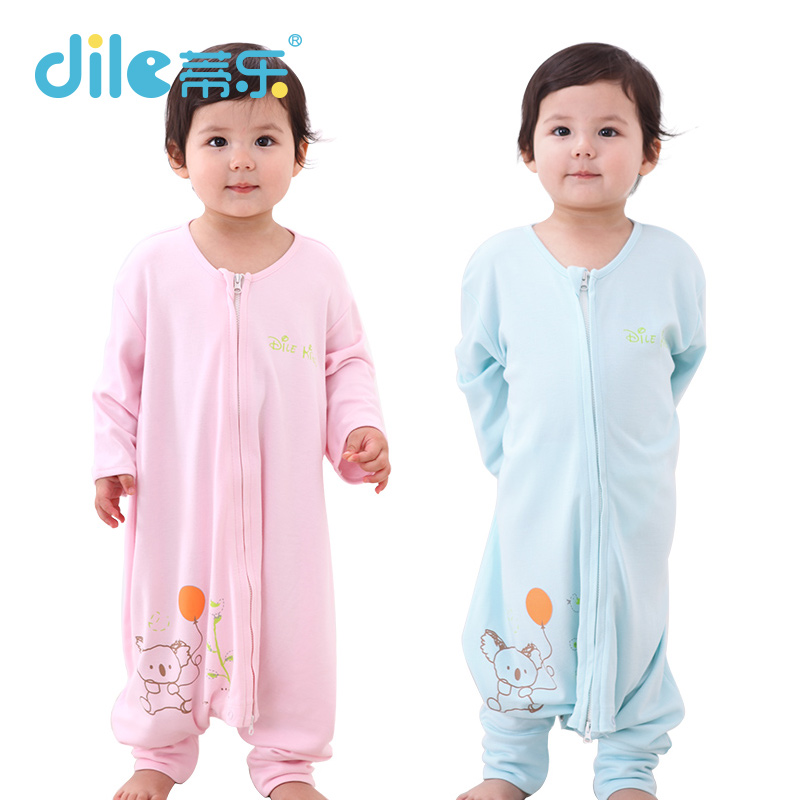 Baby bamboo fiber sleeping bag baby split style one piece clothes for children anti kicking pajamas spring and summer air conditioning sleeping