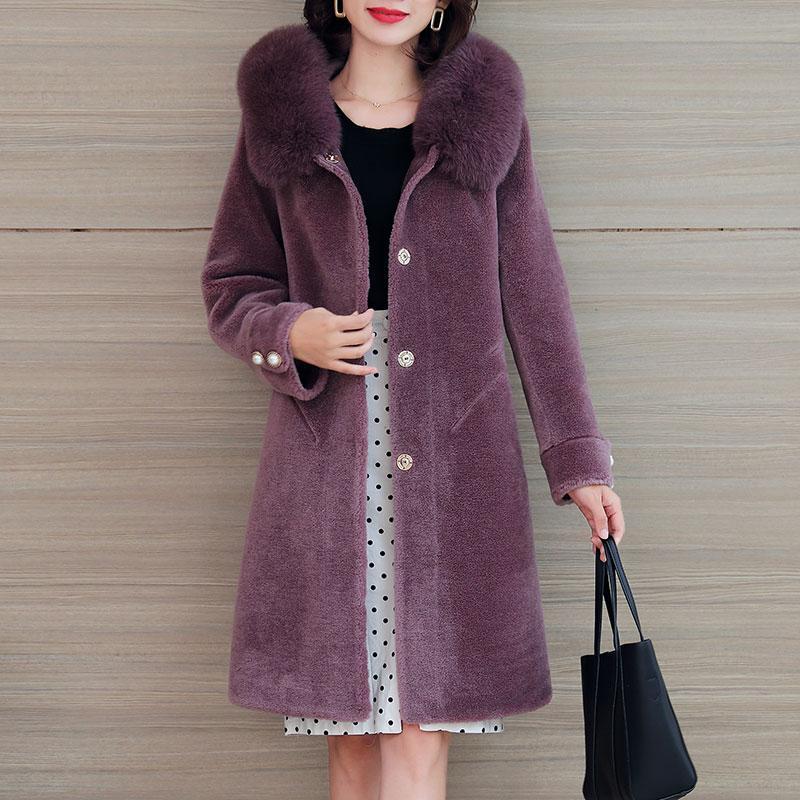 2019冬新款羊剪绒大衣女中长款带帽皮毛一体外套羊羔毛皮草海宁