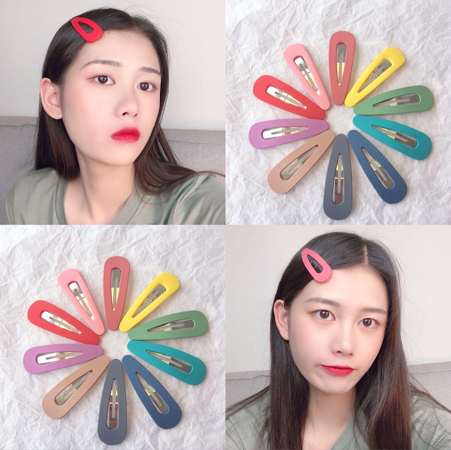 韩国泫雅风糖果色水滴发夹马卡龙色少女心可爱刘海夹磨砂发夹边夹不包邮