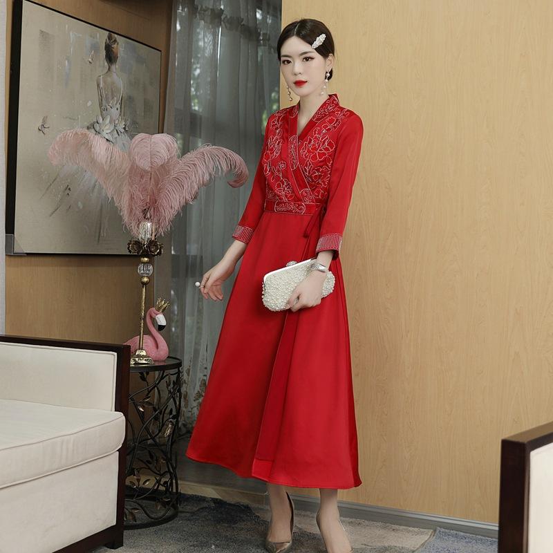 代购红色改良汉服连衣裙中国风2020秋冬装新款民族风中式旗袍女装