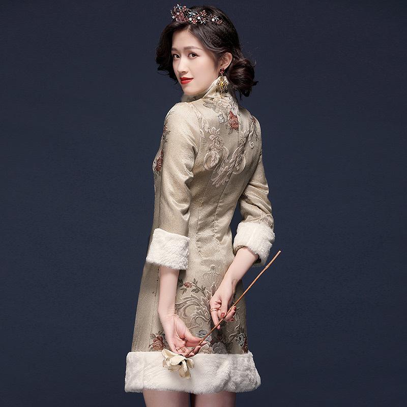 代购2020秋冬新款加厚保暖修身显瘦优雅气质长袖中长款旗袍连衣裙