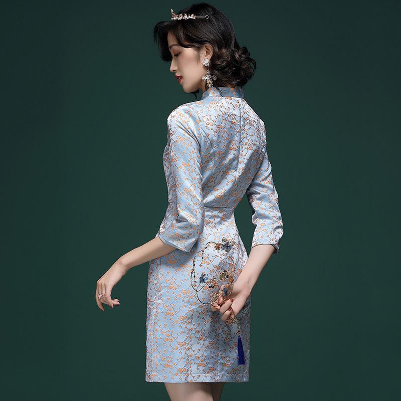 代购复古中国风秋冬装2019年新款女装年轻款提花旗袍改良版连衣裙